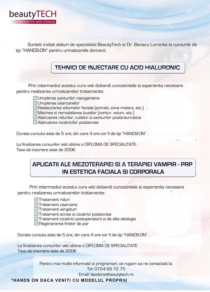 cursuri PRP si injectare acid hialuronic